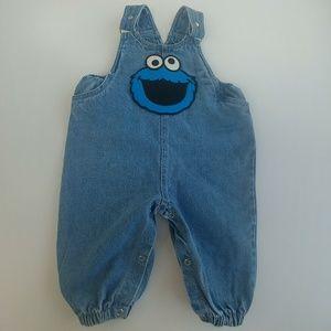 Vintage Cookie Monster Jean Overalls Sesame Street